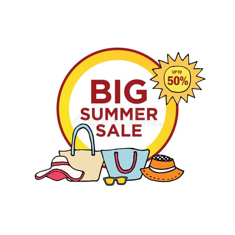 La venta del verano preestablece la bandera de la plantilla stock de ilustración
