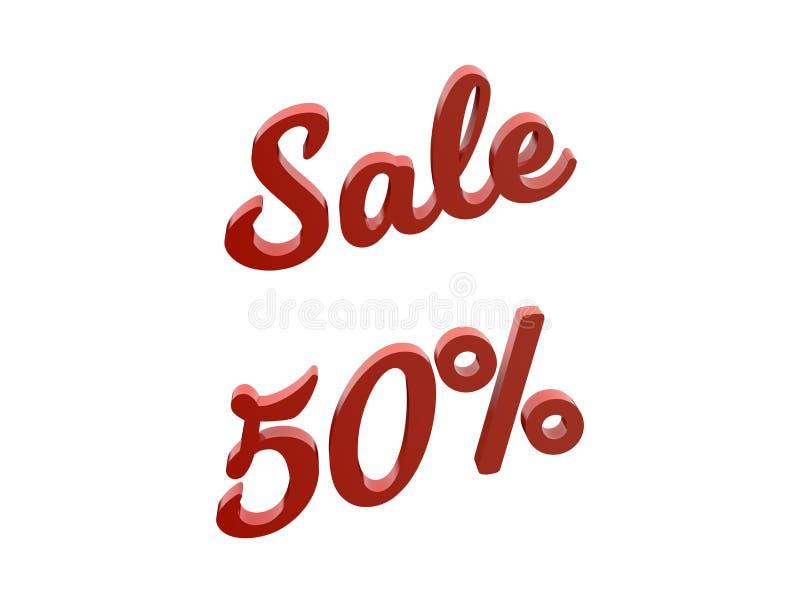 La venta el 50 por ciento descuenta el ejemplo rendido 3D caligráfico del texto del color rojo ilustración del vector