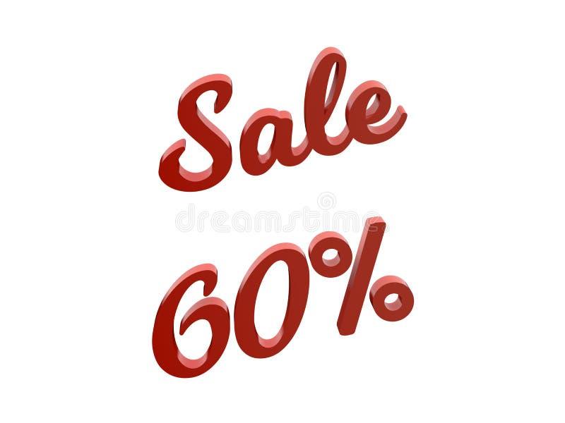 La venta el 60 por ciento descuenta el ejemplo rendido 3D caligráfico del texto del color rojo ilustración del vector