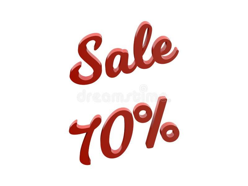 La venta el 70 por ciento descuenta el ejemplo rendido 3D caligráfico del texto del color rojo ilustración del vector
