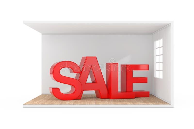 La venta firma adentro el sitio interior con la ventana grande y el piso de entarimado de madera representaci?n 3d stock de ilustración