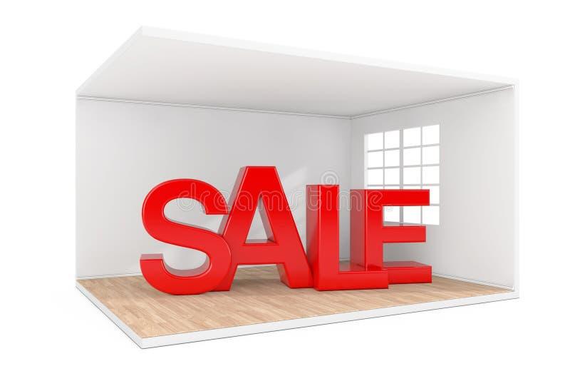La venta firma adentro el sitio interior con la ventana grande y el piso de entarimado de madera representaci?n 3d ilustración del vector