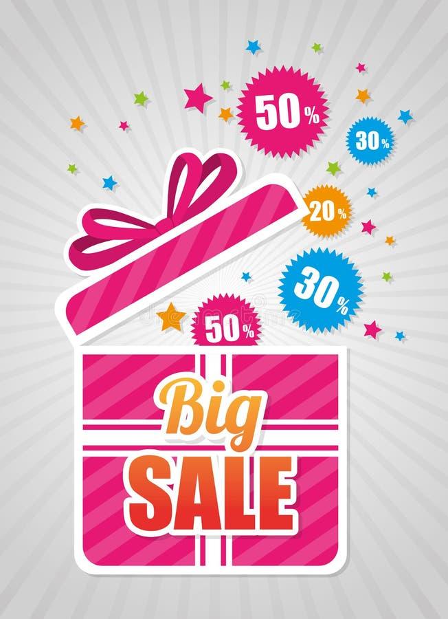 La venta grande descuenta y ofrece compras stock de ilustración