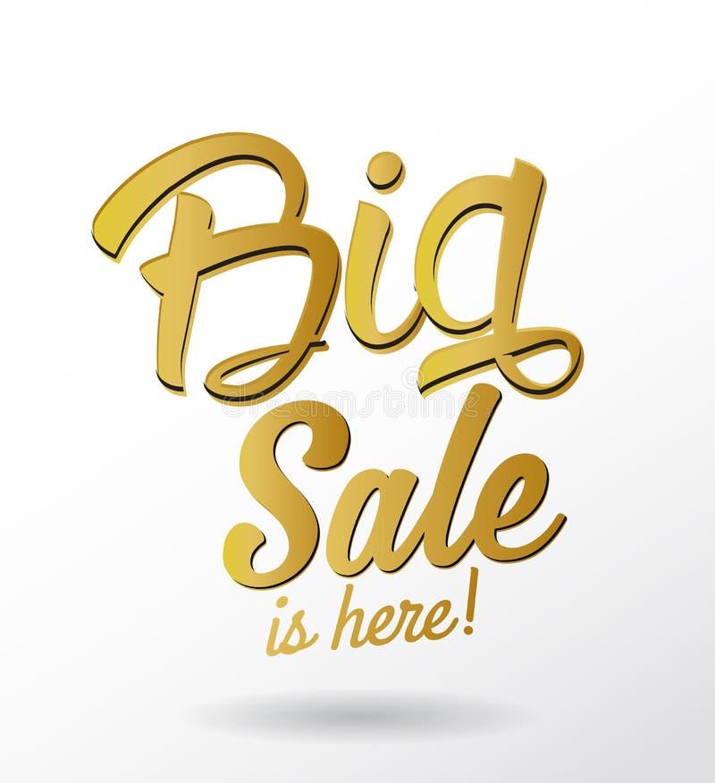 La venta grande está aquí texto caligráfico de oro libre illustration