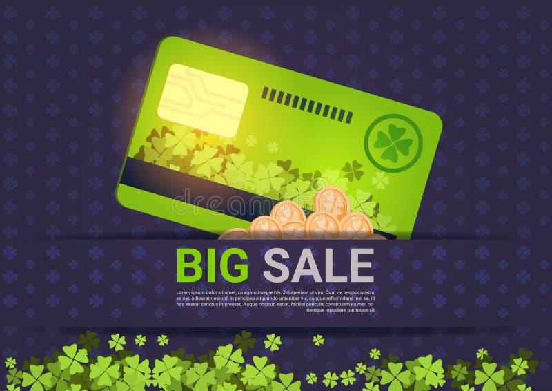 La venta grande para la tarjeta de crédito del St Patrick Day Holiday Poster Template descuenta concepto ilustración del vector
