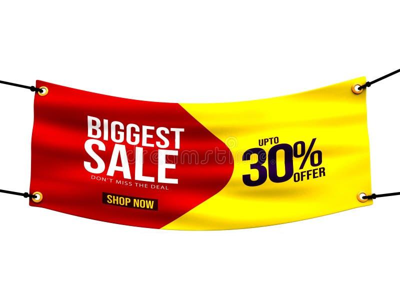 La venta más grande, promoción de ventas, materia textil azul, tela, banderas del dril de algodón con los dobleces, paño, materia ilustración del vector