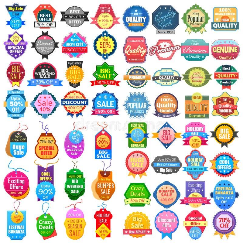 La venta y la promoción etiquetan la etiqueta engomada de la etiqueta para el anuncio stock de ilustración