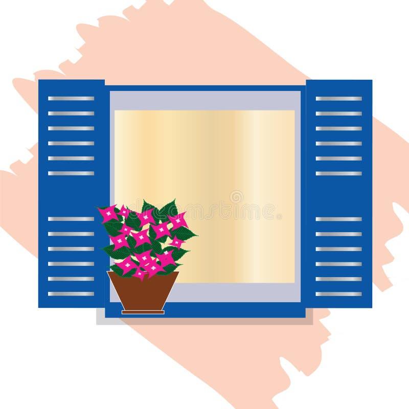 La ventana azul griega tradicional con la buganvilla florece - Cícladas Grecia ilustración del vector