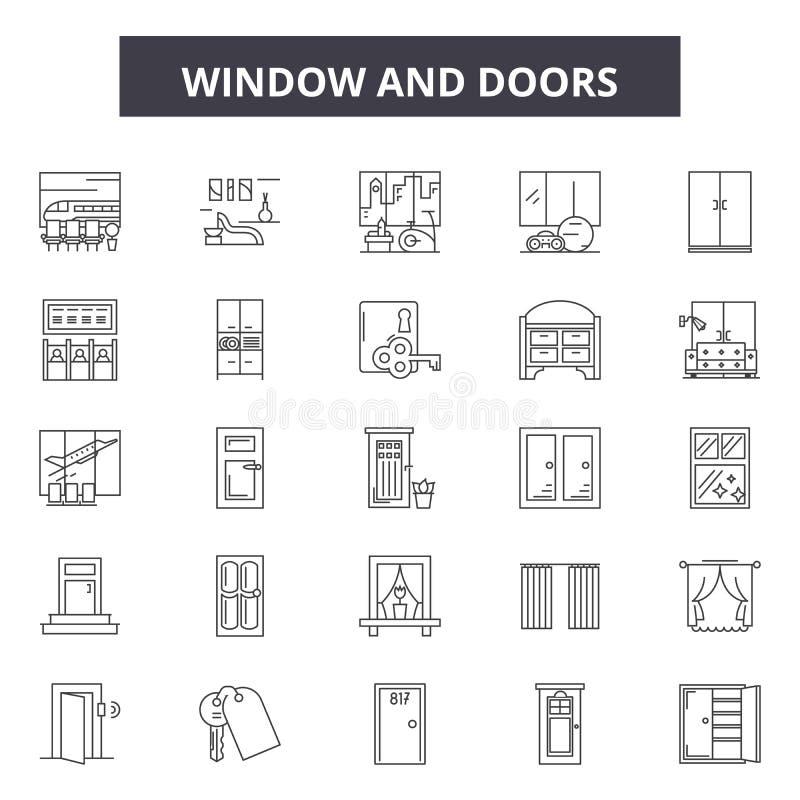 La ventana y las puertas alinean los iconos, muestras, sistema del vector, concepto del ejemplo del esquema ilustración del vector