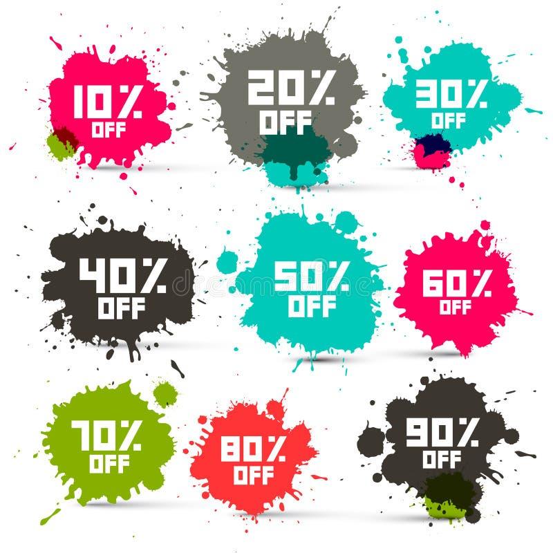 La vente au rabais colorée transparente de rétro vecteur éclabousse illustration stock