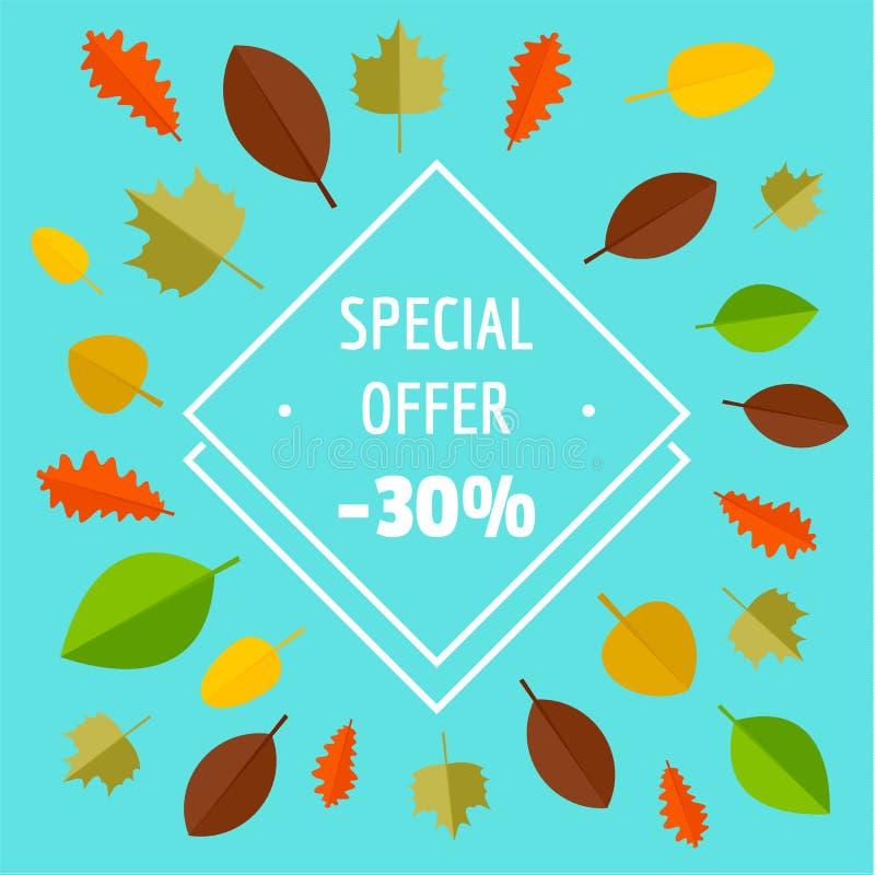 La vente d'automne d'offre spéciale a limité le fond, style plat illustration libre de droits