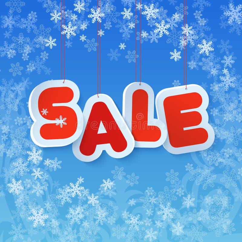 La vente d'hiver en papier étiquette le style Symbole de remise d'hiver de Chrismas au bel arrière-plan bleu illustration libre de droits