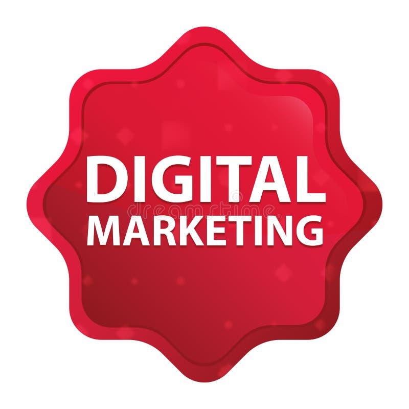 La vente de Digital brumeuse a monté bouton rouge d'autocollant de starburst illustration stock