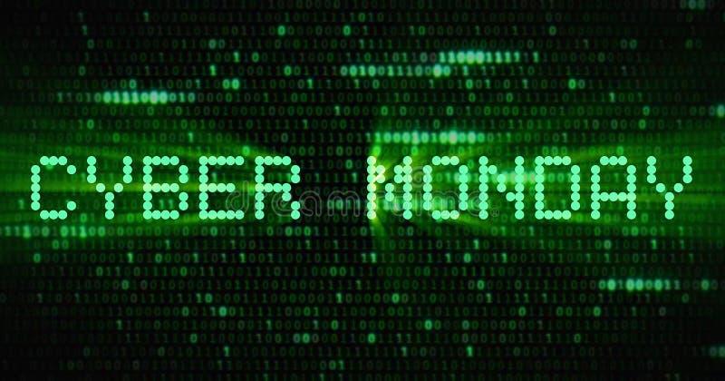 La vente de lundi de cyber de mots, apparaissant avec le vert numérique mA de point illustration stock