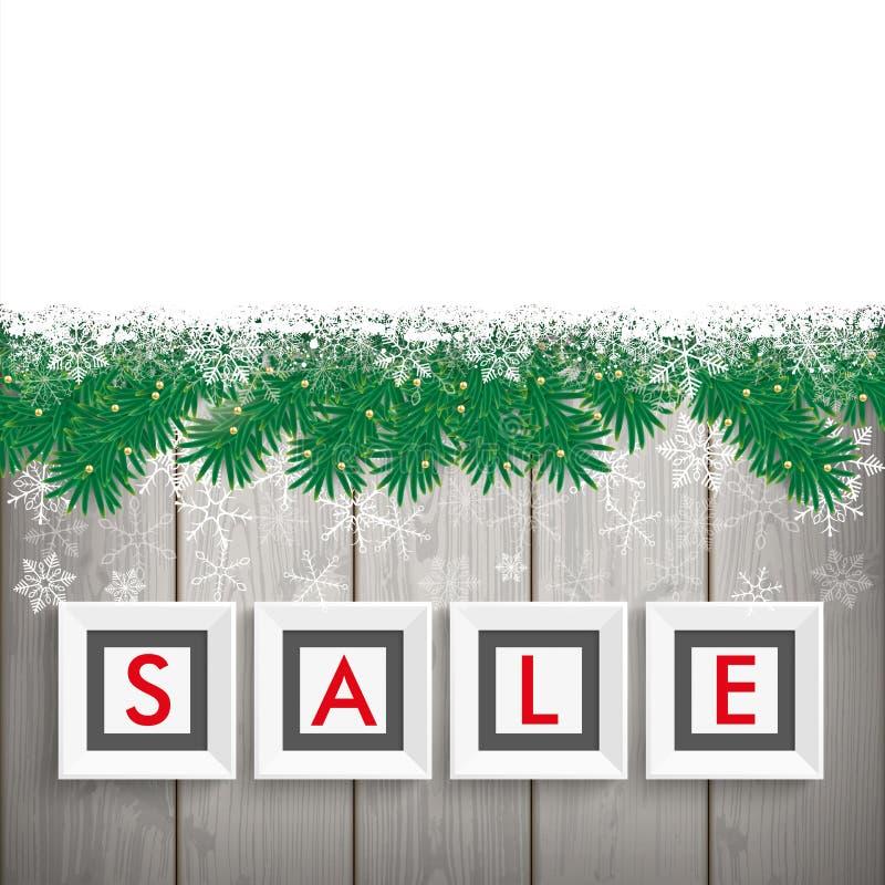 La vente de Noël encadre des brindilles de neige en bois illustration stock