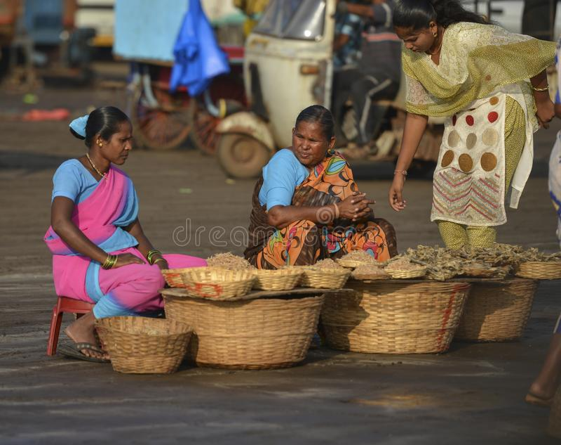 La vente de p?cheuse s?che des poissons ? la jet?e de harne, Dapoli, Ratnagiri, maharashtra photographie stock