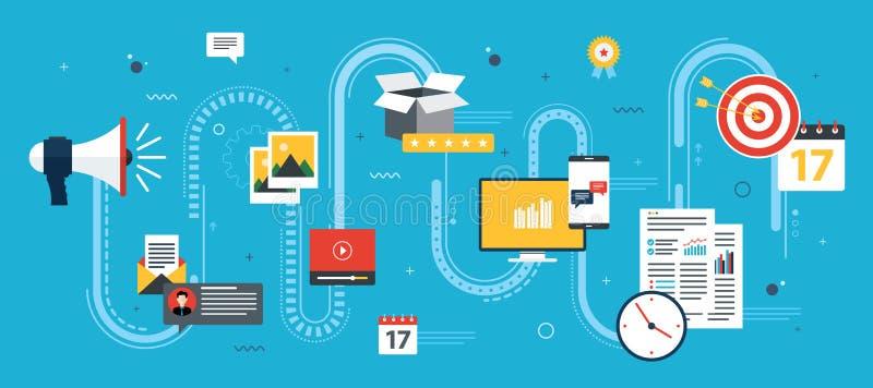 La vente, les analytics et la stratégie d'affaires dans le vecteur conçoivent illustration stock
