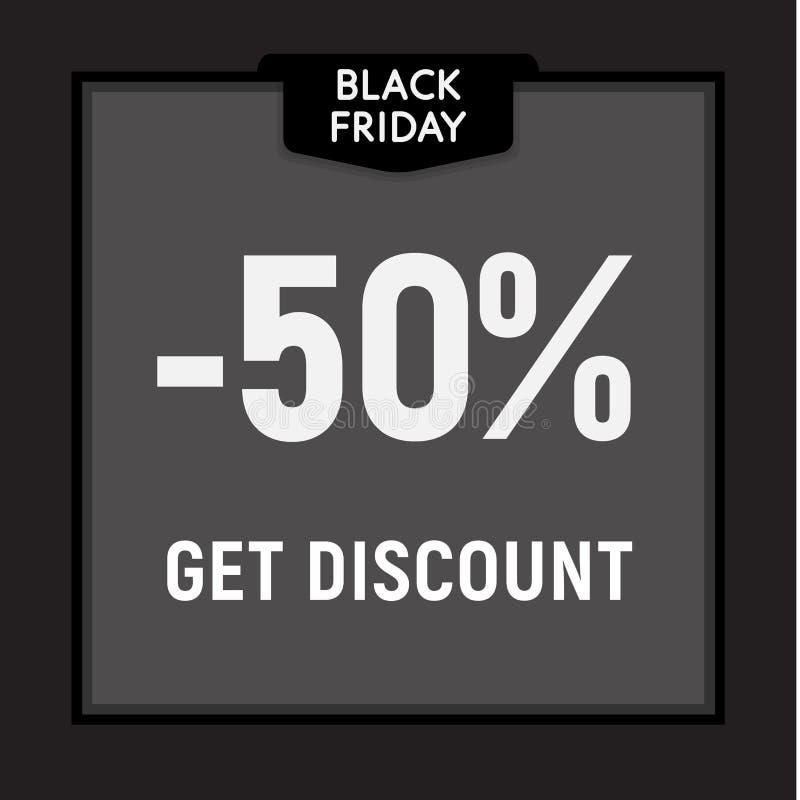 La vente noire de vendredi, offre limitée, obtiennent le bouton de Web de remise Affiche de vecteur illustration libre de droits