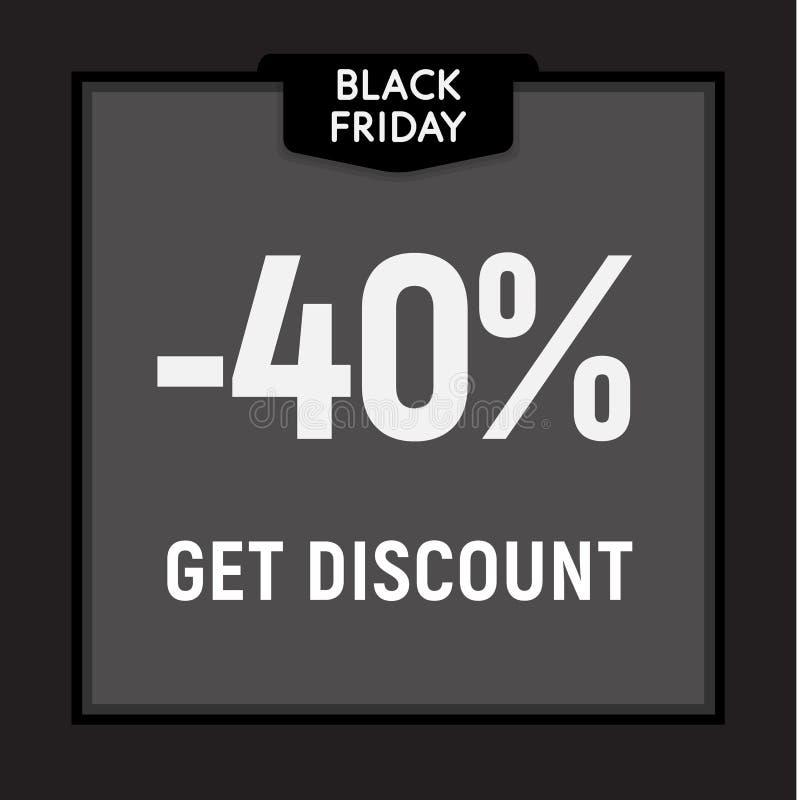 La vente noire de vendredi, offre limitée, obtiennent le bouton de Web de remise Affiche de vecteur illustration stock