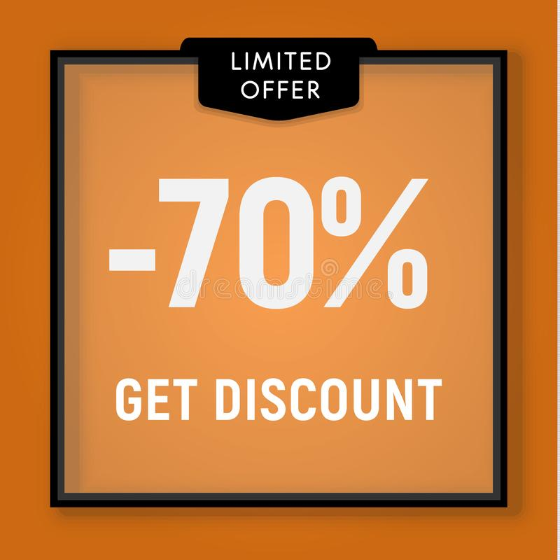 La vente 70 pour cent, obtiennent le bouton de site Web de remise Fenêtre de magasin, derrière la conception en verre Illustratio illustration libre de droits
