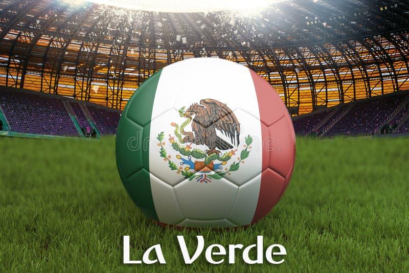 La Verde på det Mexico språket på fotbollslagboll på stor stadionbakgrund Begrepp för Mexico lagkonkurrens Mexico flagga på boll royaltyfri illustrationer