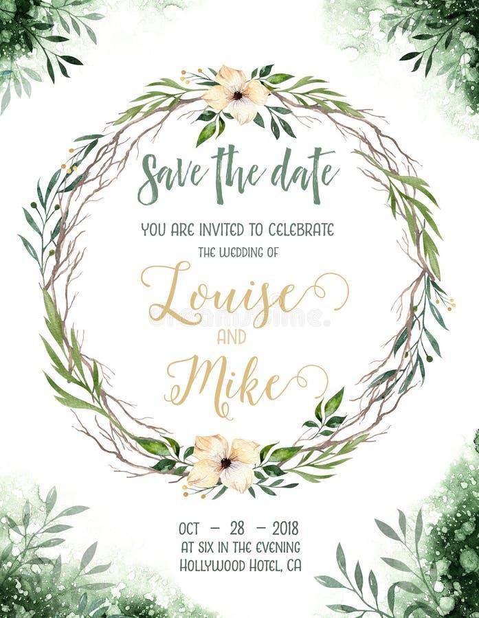La verdure d'aquarelle colorent la carte d'invitation de mariage avec des éléments de vert et d'or texture de papier avec floral  illustration libre de droits