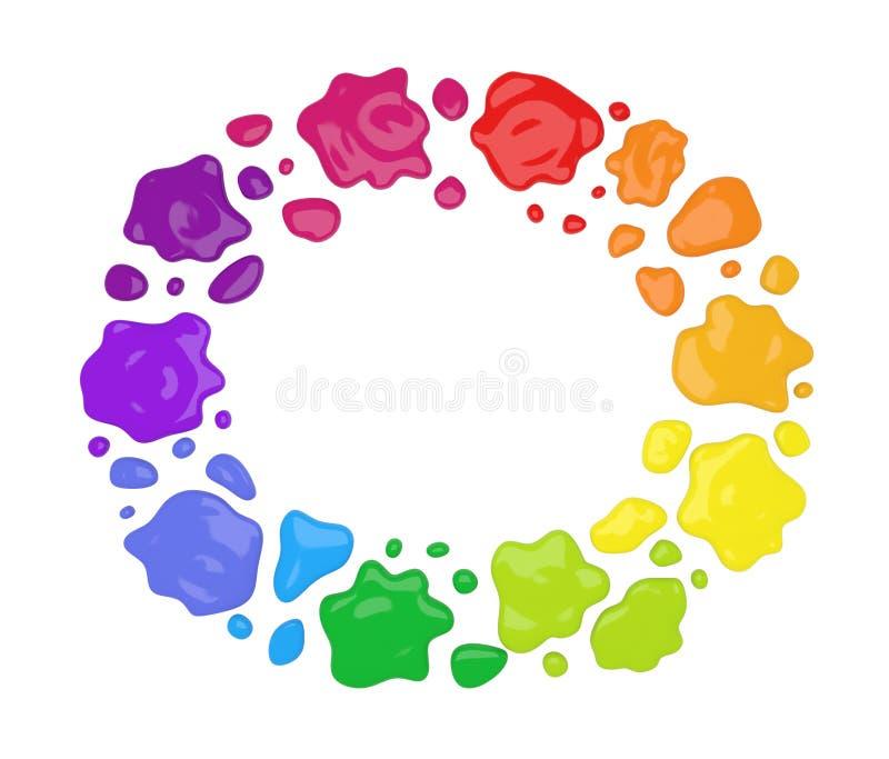 La vernice di colore spruzza in tondo immagine stock libera da diritti