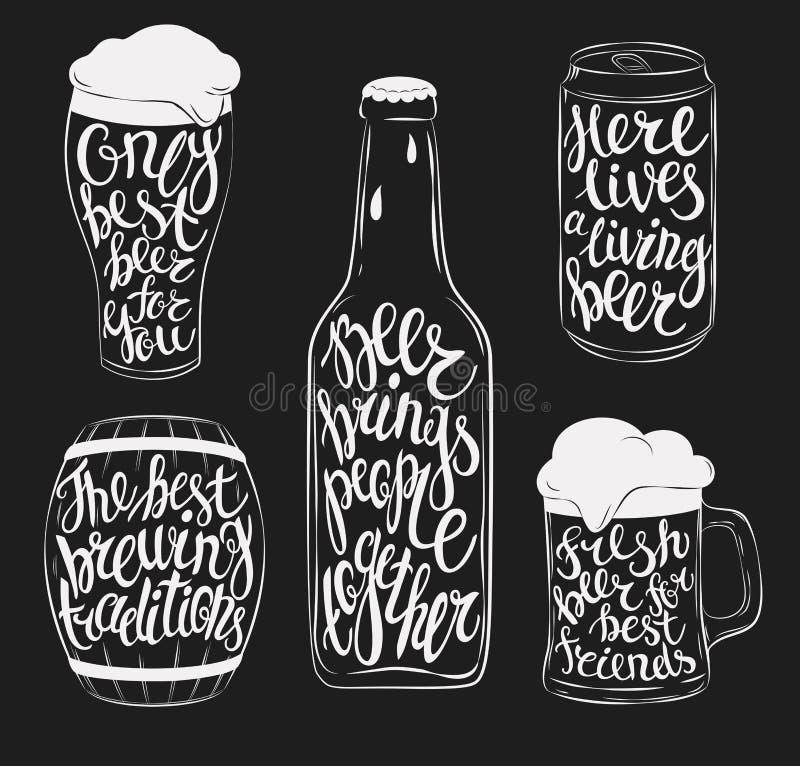 La verrerie de pinte de bière, bouteille, baril et peut illustration de vecteur