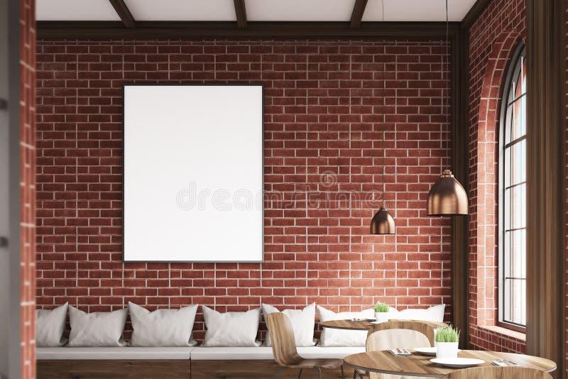 La verticale a encadré l'affiche sur un mur de café, brique illustration stock