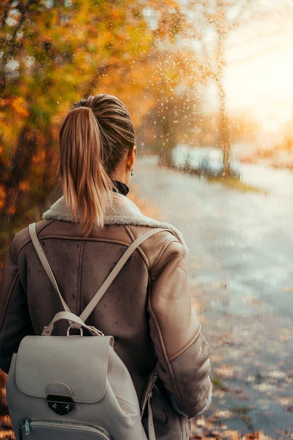 La veste d'aviateur d'usage de femme regardant dans toute la fenêtre avec la pluie se laisse tomber Scène d'or de feuilles d'auto photographie stock