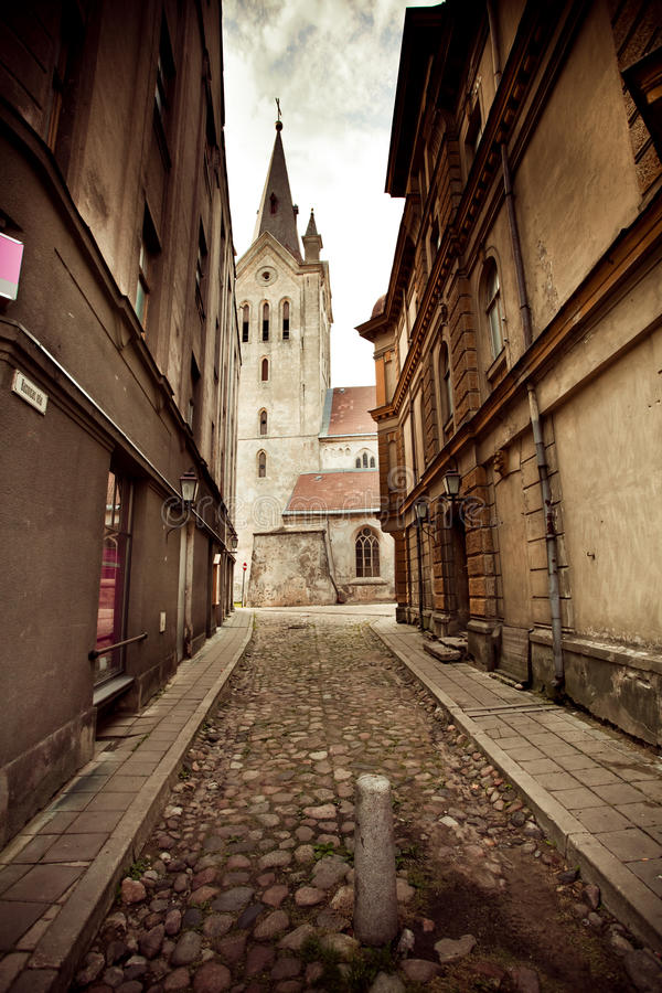La via in Cesis, Latvia fotografia stock
