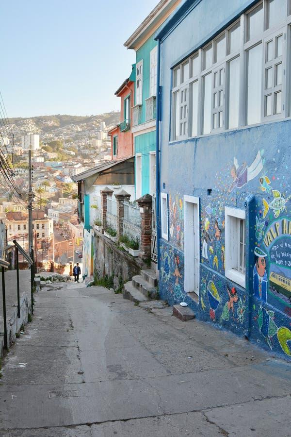 La via che scala al mirador Artilleria valparaiso chile immagine stock