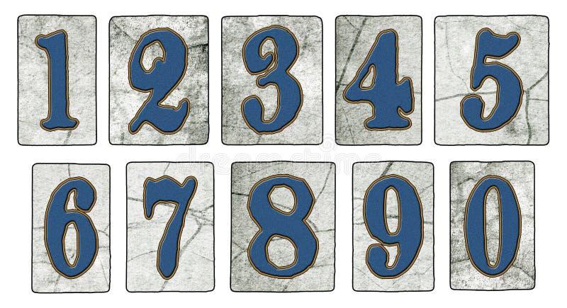 La via d'annata di New Orleans piastrella i numeri illustrazione di stock