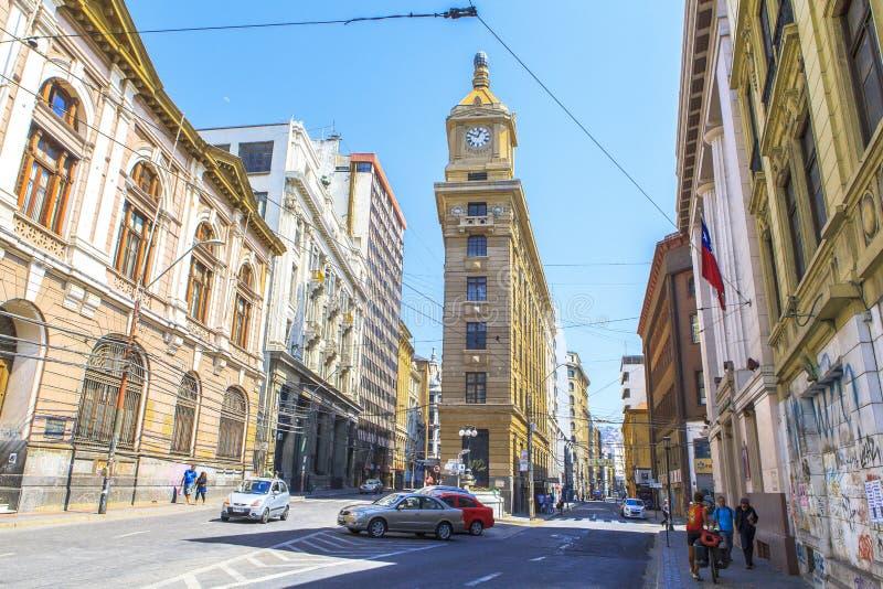 La via di Valparaiso, Cile fotografie stock