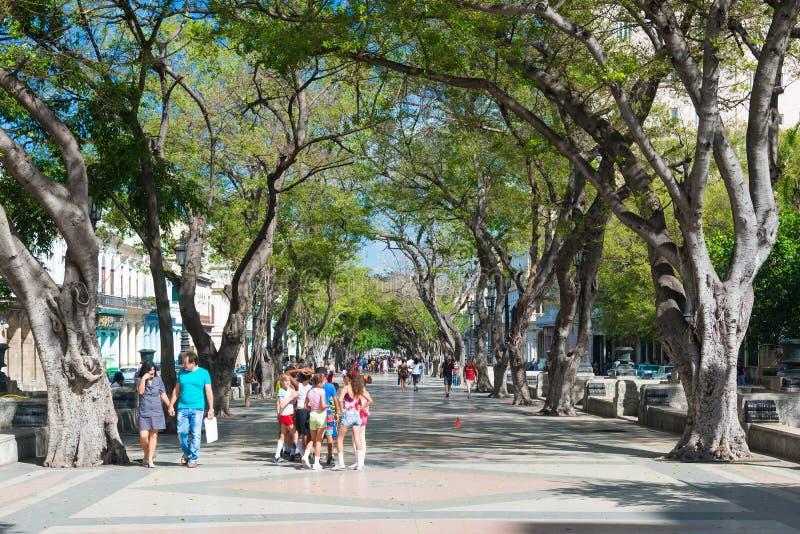La via famosa di Paseo del Prado a vecchia Avana fotografia stock libera da diritti