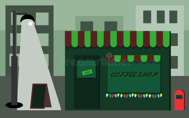 La via leggera urbana piana di progettazione della via del negozio di Coffe si rilassa fotografia stock