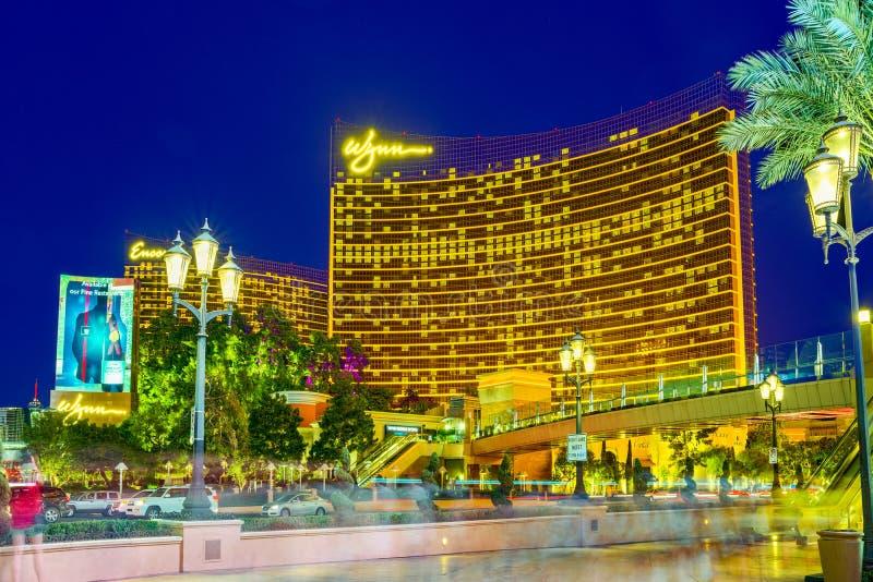 La via principale di Las Vegas-? la striscia nell'uguagliare il tempo Casin?, hotel e localit? di soggiorno-bis fotografie stock libere da diritti