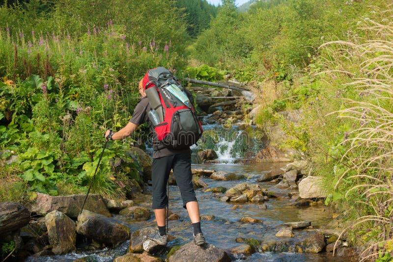 La viandante attraversa il fiume della montagna dalle pietre immagini stock