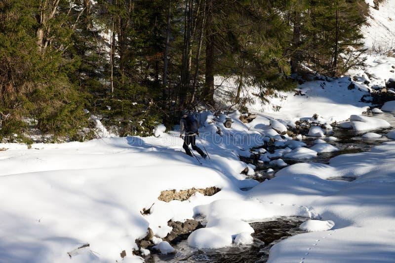 La viandante attraversa il fiume innevato della montagna fotografia stock libera da diritti