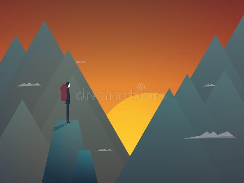 La viandante con lo zaino in montagne abbellisce il fondo di vettore Scena di tramonto, stile di vita attivo all'aperto illustrazione di stock