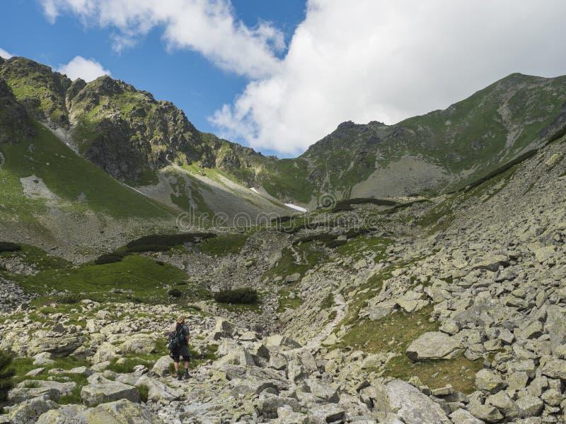 La viandante dell'uomo con lo zaino che fa un'escursione la traccia del sentiero per pedoni in dolina di Smutna della valle della fotografia stock libera da diritti