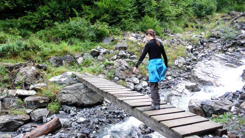 La viandante femminile attraversa una torrente montano selvaggia su un ponte di legno in un paesaggio della foresta immagine stock libera da diritti