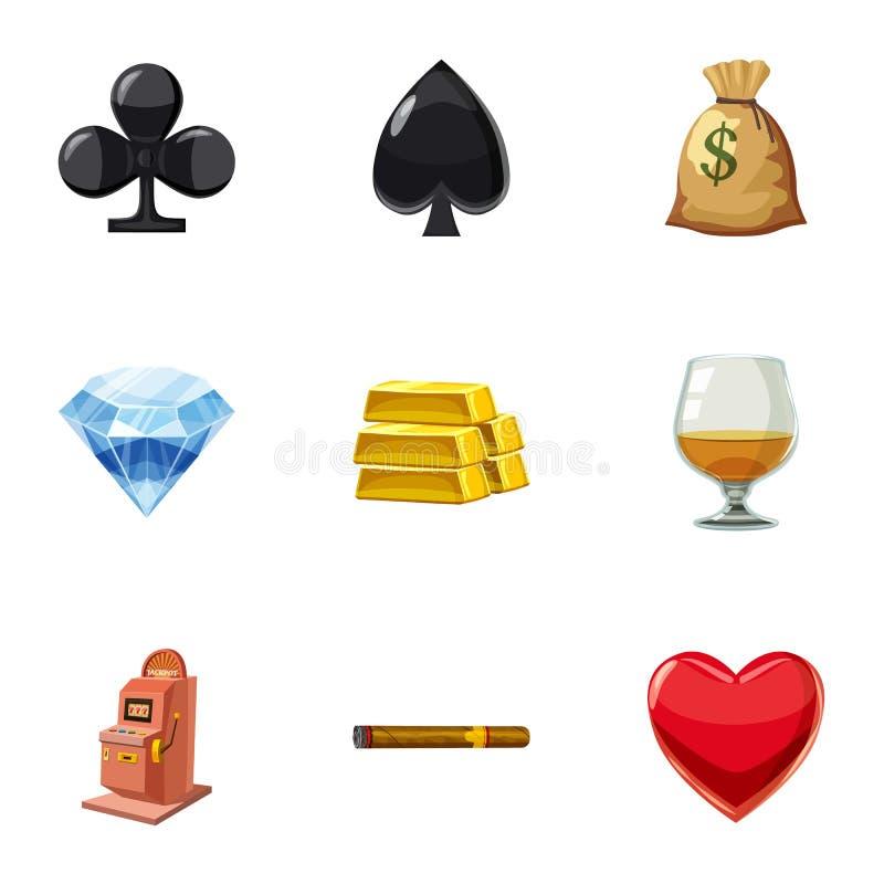 La victoire dans les icônes de casino a placé, style de bande dessinée illustration de vecteur