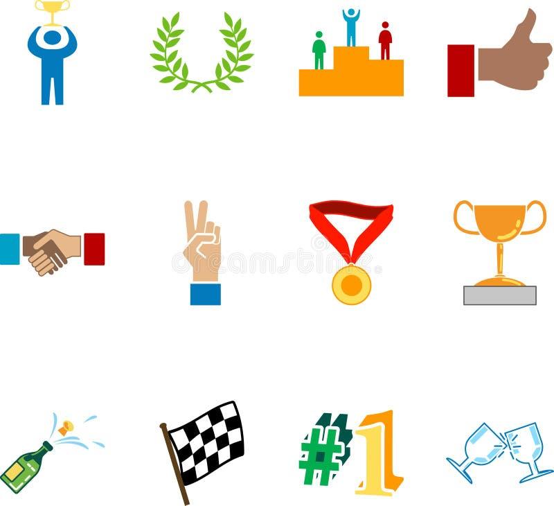 La victoire et les séries réglées de graphisme de réussite conçoivent des éléments illustration de vecteur