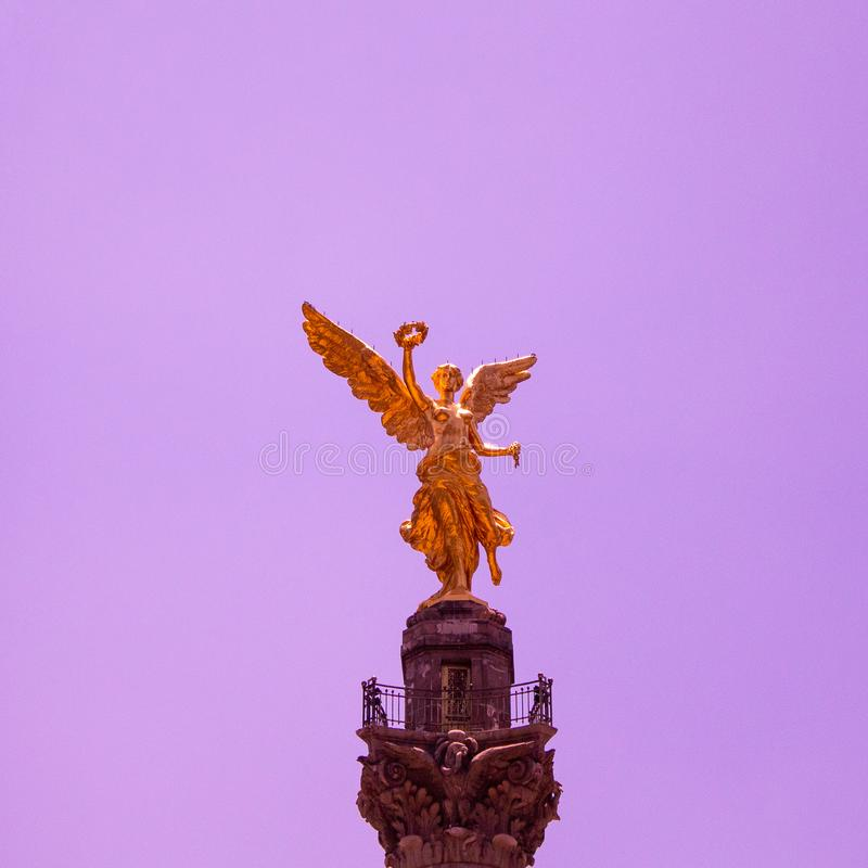 La victoria alada. Mexico City is something full of history, monuments and objects that embellish the urban landscape, this is the icon of independence and is stock images