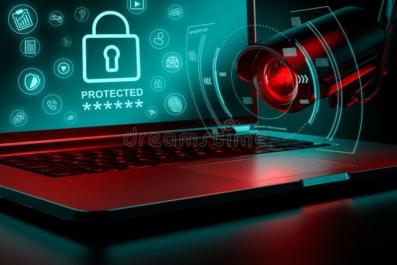 La vidéo surveillance se concentre sur un ordinateur pour la fuite possible des données sensibles au bureau ou à la société Conce illustration de vecteur