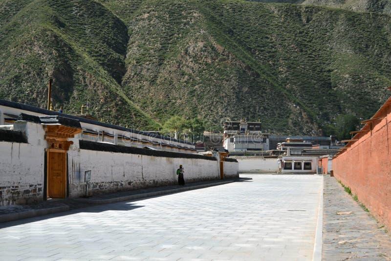 La vida alrededor de Labrang en Xiahe, Amdo Tíbet, China Peregrinos AR imagen de archivo