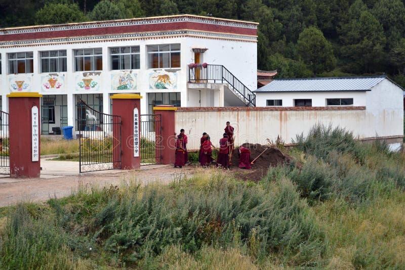 La vida alrededor del monasterio de Kirti Gompa en Langmusi, Amdo Tíbet, C foto de archivo libre de regalías