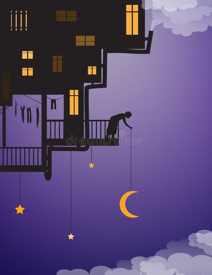 La vida en cielos, puso la luna en el cielo nocturno, casa en el cielo con el hombre que ponía la luna sobre las nubes, de hadas stock de ilustración