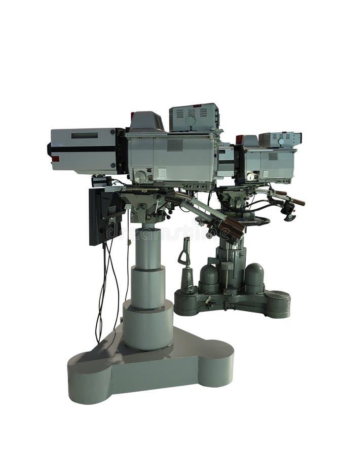 La videocamera digitale dello studio professionale della TV sul treppiede ha isolato la o fotografia stock